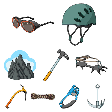 Mountaineering set collection icons in cartoon style vector symbol stock illustration Reklamní fotografie - 85103619