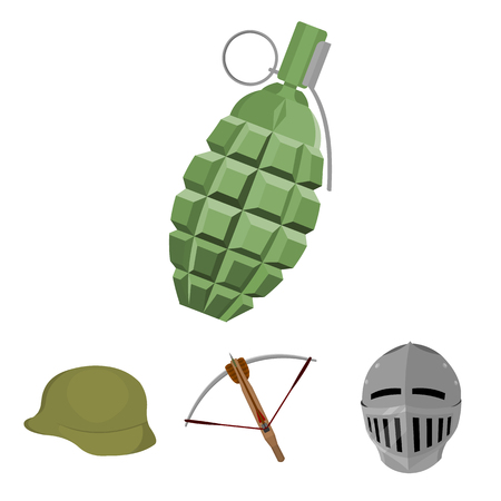 Crossbow, medieval helmet, soldiers helmet, hand grenade. Weapons set collection icons in cartoon style vector symbol stock illustration .