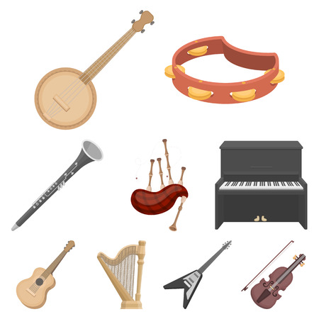 Big collection of musical instruments vector symbol stock illustration