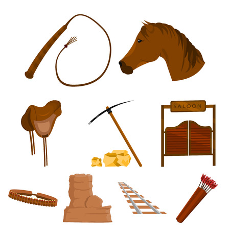 Wild west set icons in cartoon style. Big collection of wild west vector symbol stock Ilustrace