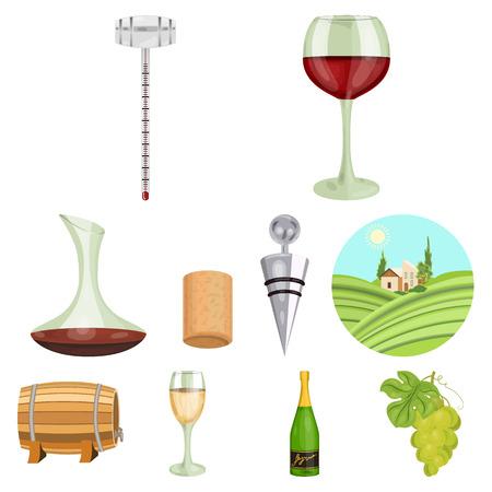 ワイン製品。成長のブドウ、ワイン。つる生産アイコン漫画イラスト ベクトル シンボル ストック web にセットのコレクション。