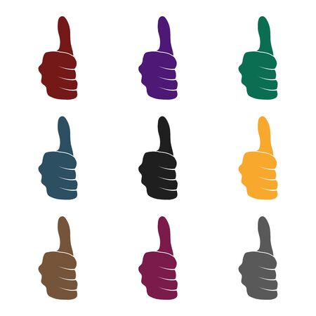 Thumb up icon in black style isolated on white background. Hand gestures symbol vector illustration.