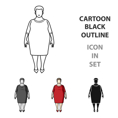 Fat woman in a red dress.A fat woman because of diabetes.Diabetes single icon in cartoon style vector symbol stock web illustration.