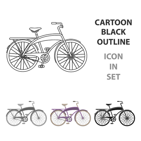 Road bike for walking with a semicircular frame.Different Bicycle single icon in cartoon style vector symbol stock web illustration.