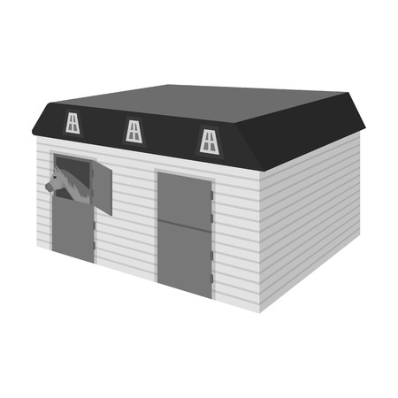 The stable building at the racetrack. Stable room single icon in monochrome style vector symbol stock illustration .
