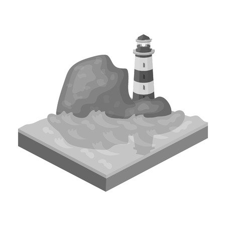 Mountains,lighthouse and Sea. Relief and mountains single icon in monochrome style isometric vector symbol stock illustration .