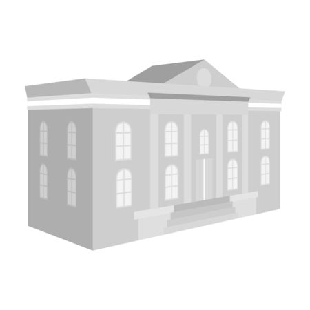 The architectural building of the museum. The Museum single icon in monochrome style vector symbol stock illustration .