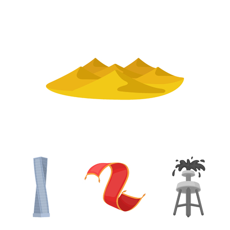 Persian carpet, dunes in the desert, Shanghai Tower, oil well.Arab emirates set collection icons in cartoon style vector symbol stock illustration web.