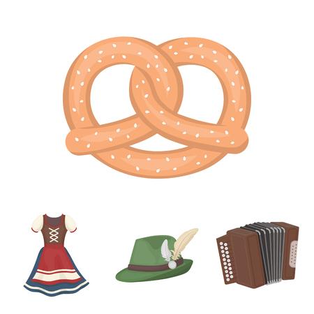 チロルの帽子、アコーディオン、ドレス、プレッツェル。オクトーバーフェストセットコレクションのアイコン漫画のスタイルベクトルシンボルス