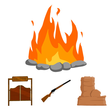 Winchester, saloon, rock, fire.Wild west set collection icons in cartoon style vector symbol stock illustration web. Illustration