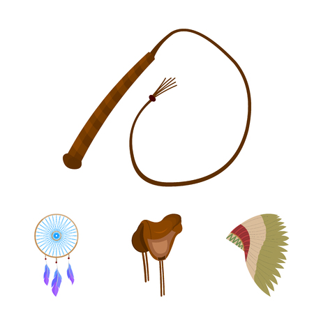 Saddle, Indian mohawk, whip, dream catcher.Wild west set collection icons in cartoon style vector symbol stock illustration web.