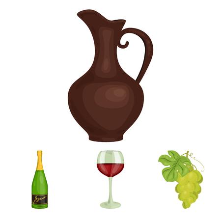 Un verre de vin rouge, du champagne, une cruche de vin, un bouquet. Ensemble de production de vin icônes de collection dans le dessin animé style vecteur symbole stock illustration web.