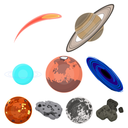 Planets of the solar system. Cosmic objects. Planets icon in set collection on cartoon style vector symbol stock illustration.