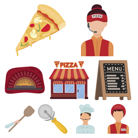 Pizza and pizzeria set icons in cartoon style. Big collection of pizza and pizzeria vector symbol stock illustration