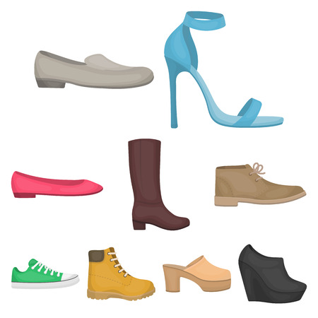 Shoes set icons in cartoon style. Big collection of shoes vector symbol stock illustration