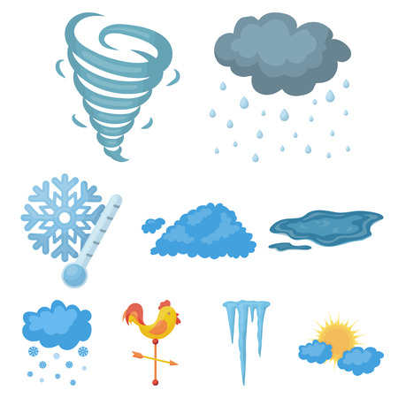 Weather set icons in cartoon style. Big collection of weather vector symbol stock Çizim