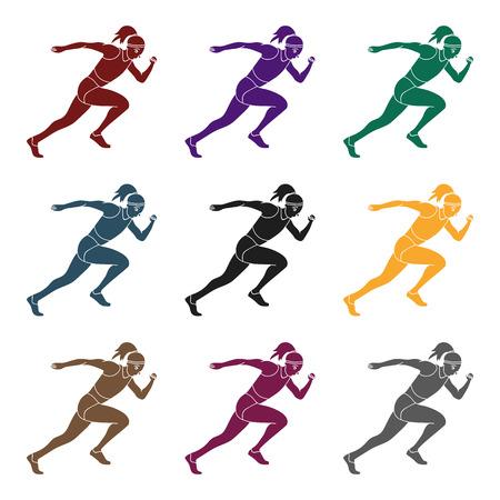 少女は陸上競技に従事している。陸上競技の活性物。ブラックスタイルベクターシンボルでアクティブスポーツシングルアイコンストックイラスト