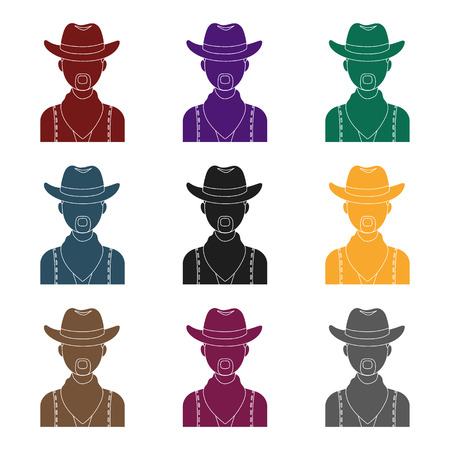 cowboy beard: Cowboy icon in black design isolated on white background. Rodeo symbol stock vector illustration. Illustration