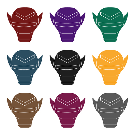 warriors: Superheros helmet icon in black style isolated on white background. Superheros mask symbol vector illustration.