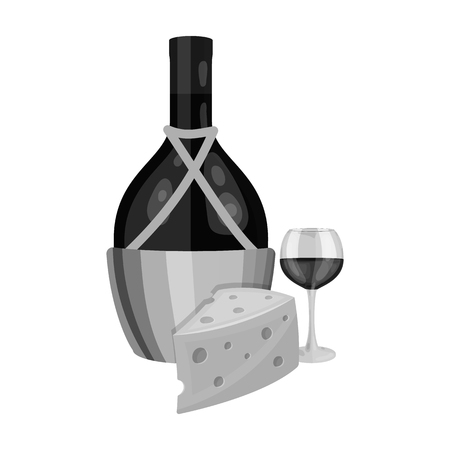 A bottle of alcohol, wine in a glass and cheese. Alcohol single icon in monochrome style vector symbol stock illustration . Illustration