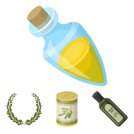 A can of canned olives, a bottle of oil with a sticker, an olive wreath, a glass jar with a cork. Olives set collection icons in cartoon style vector symbol stock illustration web.