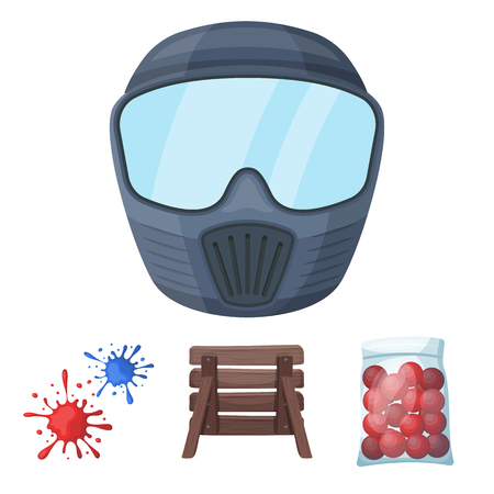 Wooden barricade, protective mask and other accessories. Paintball single icon in cartoon style vector symbol stock illustration web. Illustration