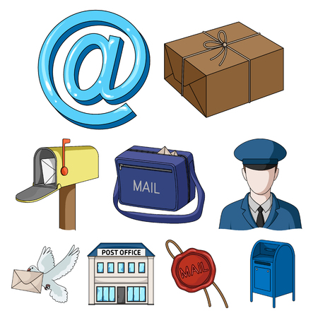 sealing wax: Postman, envelope, mail box and other attributes of postal service.Mail and postman set collection icons in cartoon style vector symbol stock illustration web.