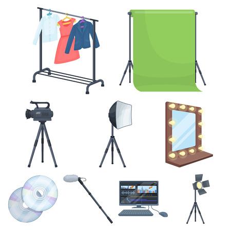 Een filmcamera, een floodlight, een chromakey en andere apparatuur voor de bioscoop. Het maken van film set collectie iconen in cartoon stijl vector symbool stock illustratie web.