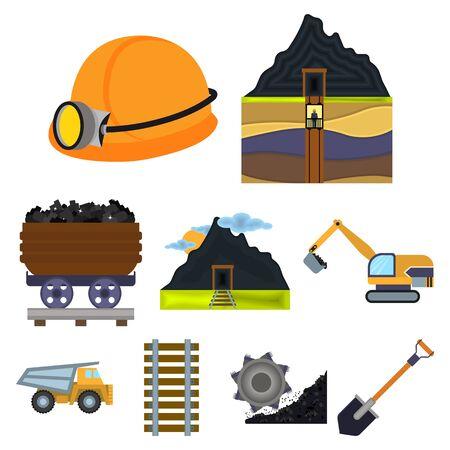 Mine set icons in cartoon style. Big collection of mine vector symbol stock illustration Illustration