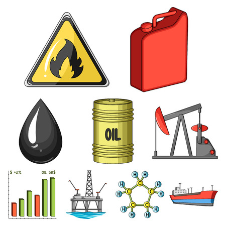 Oil rig, pump and other equipment for oil recovery, processing and storage.Oil set collection icons in cartoon style vector symbol stock illustration web.