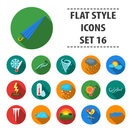 Weather set icons in flat style. Big collection of weather vector symbol stock rain, thunder, sun