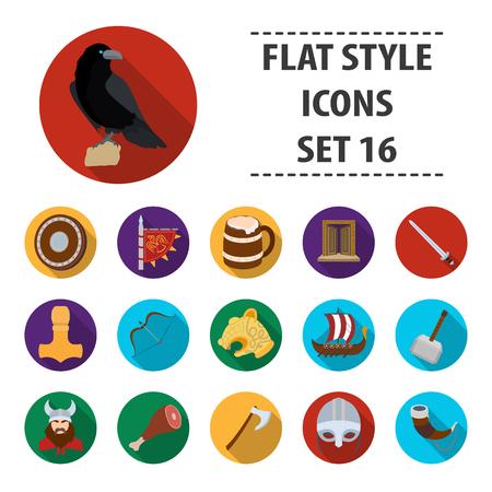 Vikings set icons in flat design. Big collection of vikings vector symbol stock illustration Illustration