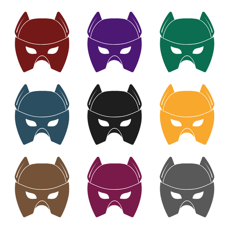 Full head mask icon in black style isolated on white background. Superheros mask symbol vector illustration.