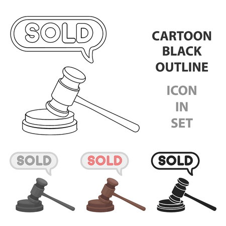 e auction: Auction hammer icon in cartoon style isolated on white background. E-commerce symbol vector illustration.
