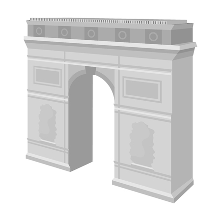 パリの凱旋門。アーチ建物単一モノクロ スタイル ベクトル シンボル ストック イラストのアイコン。