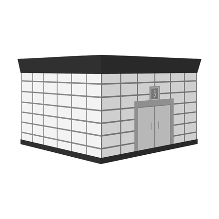 Office premises of the bank. Central bank single icon in monochrome style vector symbol stock illustration .