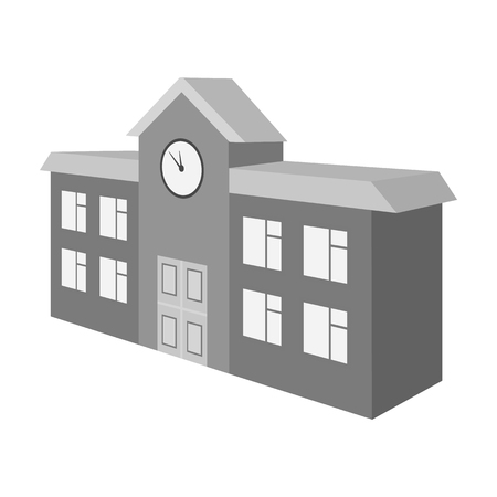 Architectural building of school, college. College single icon in monochrome style vector symbol stock illustration . Иллюстрация