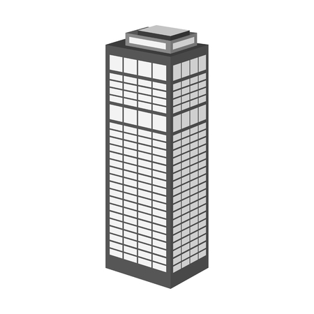 High-rise building of a skyscraper. Skyscraper single icon in monochrome style vector symbol stock illustration .