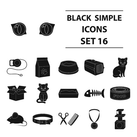 Cat equipment set icons in black style. Big collection of cat equipment vector symbol stock illustration