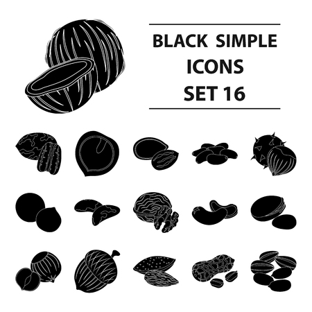 pistachios: Hazelnut, pistachios, peanuts and other types of nuts.Different types of nuts set collection icons in black style vector symbol stock illustration web.