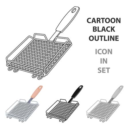 Singola icona del BBQ nell'illustrazione delle azione di vettore di stile del fumetto