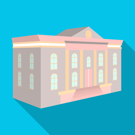 The architectural building of the museum. The Museum single icon in flat style vector symbol stock illustration . Иллюстрация