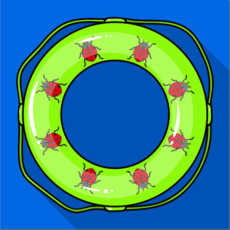 Multicolored swimming circle for relaxing. Swimming circle single icon in flat style vector symbol stock illustration .