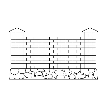palisade: A fence of bricks. A different fence single icon in outline style vector symbol stock illustration .