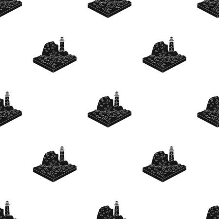 relievo: Mountains, lighthouse and Sea . Relief and mountains single icon in black style isometric vector symbol stock illustration web.