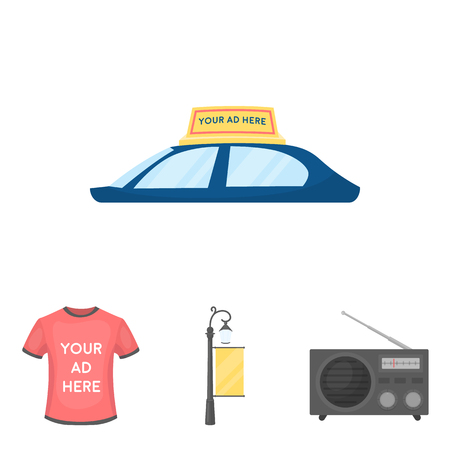 A lamppost with a sign, a T-shirt with an inscription, a radio, a car roof.Advertising,set collection icons in cartoon style vector symbol stock illustration web.
