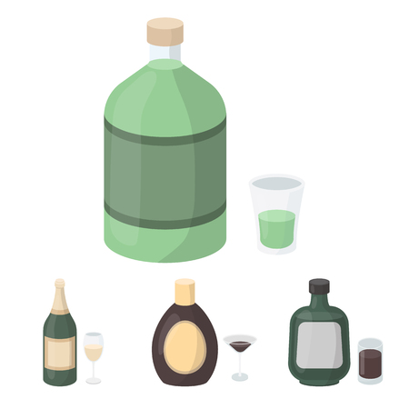 Liquor chocolate, champagne, absinthe, herbal liqueur.Alcohol set collection icons in cartoon style vector symbol stock illustration web. Vector Illustration
