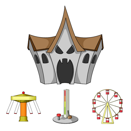 The device with a bat for measuring strength, a ferris wheel, a carousel, a house with windows. Amusement park set collection icons in cartoon style vector symbol stock illustration web. Illustration