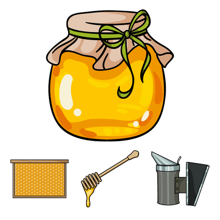 fumigador: A frame with honeycombs, a ladle of honey, a fumigator from bees, a jar of honey.Apiary set collection icons in cartoon style vector symbol stock illustration web.