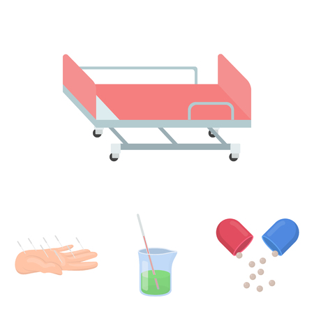 gurney: Solution, tablet, acupuncture, hospital gurney.Medicine set collection icons in cartoon style vector symbol stock illustration web.